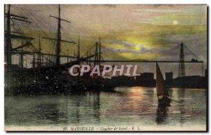 Old Postcard Marseille Sunset Boat