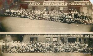 1916 Rahe's Auto Repair Kansas City Missouri RPPC Real photo postcard 13155