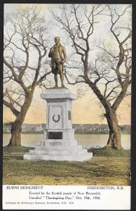 Burns Monument Fredericton New Brunswick CANADA Used c1909