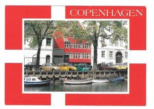 Denmark Copenhagen Christianshavn Canal Cars VW Beetles Boats Vntg Postcard 4X6