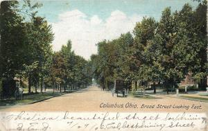Columbus Ohio~Homes on Broad Street Looking East~Horse Carriage~1906 Postcard
