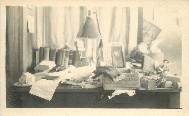 Books 1913 Messy Desk Top Glove Lamp Box Papers RPPC real photo postcard 6724
