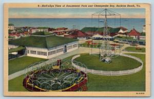 Postcard VA Buckroe Beach Birds Eye View Amusement Park Chesapeake Bay Linen M1