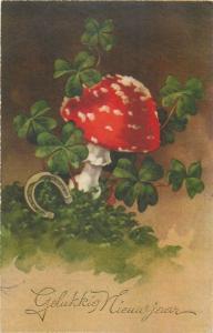 Luck mushroom New Year fantasy shamrocks horseshoe