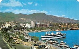 Acapulco Mexico Postcard Tarjeta Postal Costera Miguel Aleman y El Malecon Ac...
