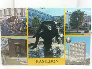 Postcard Basildon Town Centre Fountain Market Towngate Theatre DSS Building 70s