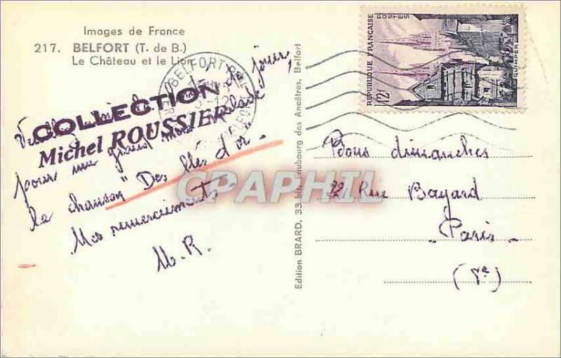 Old Postcard belfort-Chateau and the Lion