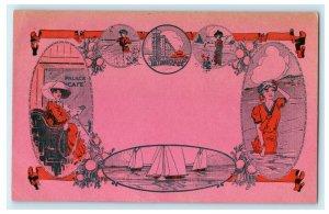 c1910 Palace Cafe Mr. Trolley Tripper Advertisement Long Beach CA Postcard
