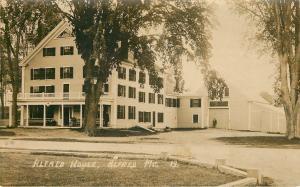 Alfred Maine~House Inn Hotel~Man Leans Against Garage Door~1915 Real Photo~RPPC