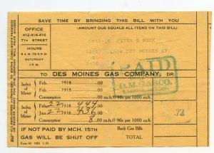 Des Moines Gas Company Jan 22 Feb 22 1918 Bill