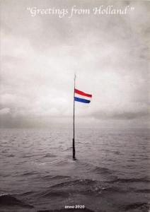 Postcard Greetings from Holland Dutch Flag In Sea anno Year 2020 Netherlands