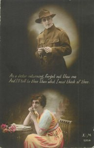 Nostalgic woman military lover early greetings postcard