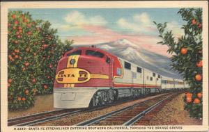 Santa Fe Streamliner - Post Card - Used