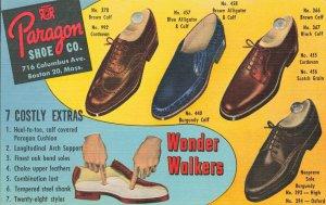 Boston MA Paragon Shoe Company Columbus Avenue Linen Postcard