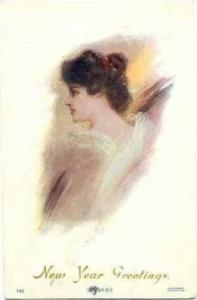 Head portrait  SUZANNE , New Year Greetings, PU-1908