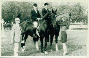 Hippique sport horses two men sitting on their horses RPPC 03.95