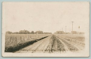 Pipestone MN Muddy Road To Indian Schools~Summer House~Watertower RPPC c1918