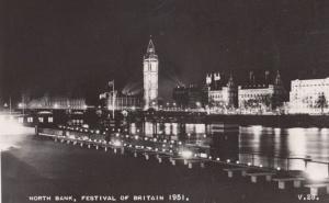 Festival Of Britain Big Ben North Bank Thames River at Night Real Photo Postcard