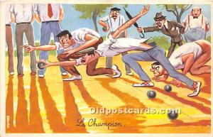 Old Vintage Lawn Bowling Postcard Post Card Le Champion Unused