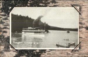 Sunapee Harbor NH Steamer Boat Ship & Canoes c1910 Postcard