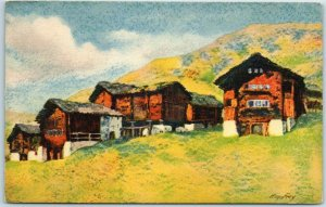Vintage VALAIS Switzerland Postcard HOTEL DE LA SAGE Chalet Artist-Signed Frey