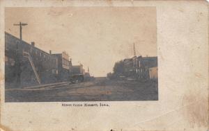 Kensett Iowa~Main Street~Restaurant on Corner~Dirt Road~1905 Real Photo~RPPC