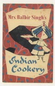 Mrs Balbir Singh's Indian Cookery 1961 Book Postcard