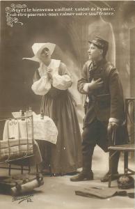 France patriotic military nun nurse early postcard