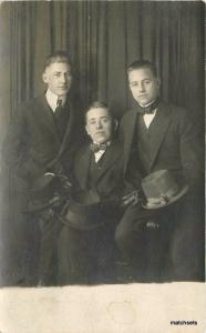 C-1910 Three Well Dressed Young men top hats RPPC Real photo 2079