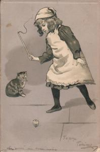 ANTIQUE 1903 VERY EMBOSSED CHILDHOOD CAT GAME GIRL FANTASY