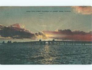 Linen SUNSET ON 79TH STREET CAUSEWAY BRIDGE Miami Florida FL d4711