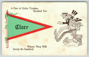 A Pair of Globe Trotters Headed for Clare Iowa~Dogs Runs Along~1910 Pennant PC