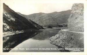 1940s Fosket Pass Box Canyon South Highway Idaho Salmon River RPPC postcard 873