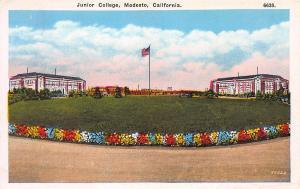 Junior College, Modesto, California, Early Postcard, Unused