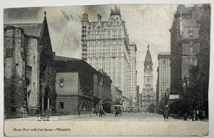 Old Undivided Back Postcard Broad Street From Spruce, Philadelphia PA