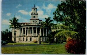 CORAL GABLES Miami Florida Postcard CITY HALL Building, Street View 1950s Chrome
