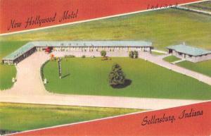 Settersburg Indiana New Hollywood Motel Antique Postcard J60759