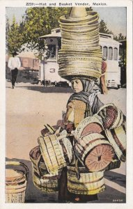 Mexico Typical Hat and Basket Vendor sk1408a