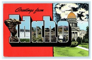 Greetings From Idaho Large Letter c1940's Postcard Vintage Antique