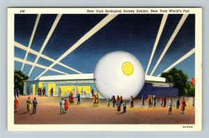 1939 New York World's Fair - Zoological Society Exhibit Night - Linen Postcard