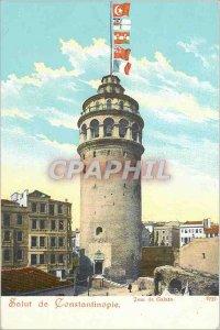 Old Postcard Hi Constantinople Galata Tower