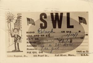 RP, SWL Radio, John Raposa, Jr., FALL RIVER, Massachusetts, PU-1939