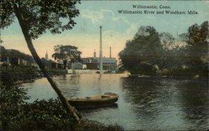 Willimantic CT River & Mills c1910 Postcard