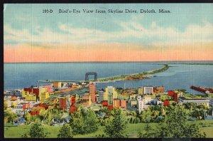 MINNESOTA DULUTH Bird's Eye View from Skyline Drive - pm1951 - LINEN