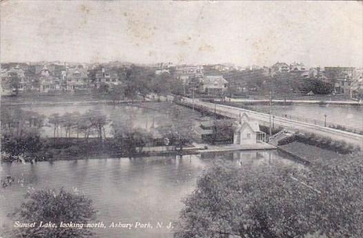 New Jersey Asbury Park Sunset Lake Looking North 1910