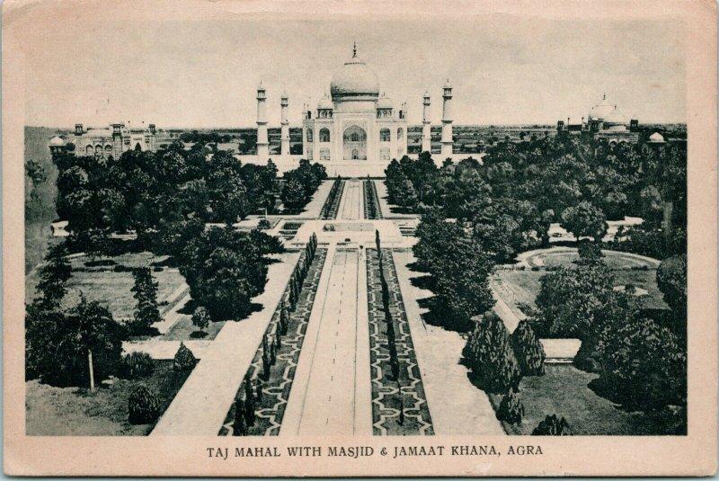 Vtg 1940s Carte Postale - Taj Mahal Avec Masjid & Jamat Khana Agra - non Posté
