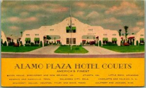 ALAMO PLAZA HOTEL COURTS Advertising Postcard w/ 1950 VICKSBURG Miss. Cancel