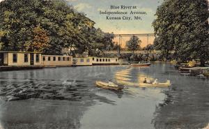 Kansas City MO~Kids on Independence Avenue Blue River Bridge~Rowboats~Hall Bros