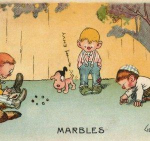 1910s Gene Carr Marbles Envy Boys Dog Comic Humor Cartoon Postcard