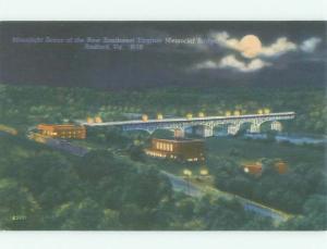 Unused Linen BRIDGE SCENE Radford Virginia VA HQ9823-12